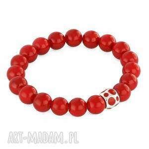 handmade bransoletki red jade with bead