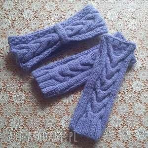 handmade rękawiczki komplet wiosenny opaska i mitenki