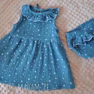 hand-made muślinowa sukienka w gwiazdki