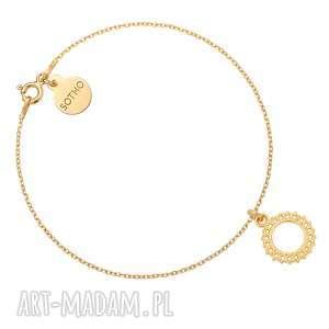 złota bransoletka z rozetką - minimalistyczna, elegancka, zawieszka