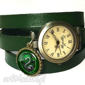 hand made zegarki slytherin - zegarek / bransoletka na skórzanym pasku