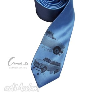 Prezent Drukowany krawat, śledzik - trabant, śledź, nadruk,