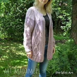 swetry big sweter, wełniany, gruby na drutach, kardigan