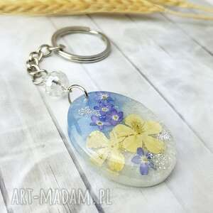 handmade breloki 1099/mela - brelok do kluczy z żywicy kwiaty