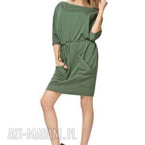 sukienki sukienka 2w1 z paskiem i kieszeniami t155, zielony, sukienka, luźna, pasek
