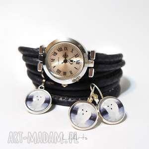 ręcznie robione zegarki komplet - biały lis zegarek i kolczyki, szary