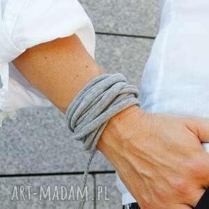 hand-made bransoletka damska bawełniana, zawijana, motana, modna na lato