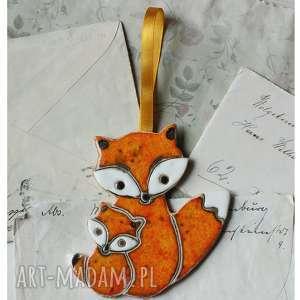 hand-made ceramika lisiczka z małym liskiem