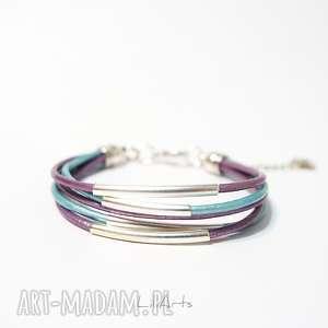 bransoletka - fioletowa, turkusowa rzemienie, skórzana, metalowe rurki