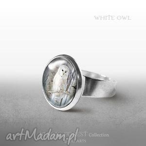 pierścionek - biała sowa, pierścionek, pierścień, retro, sówka