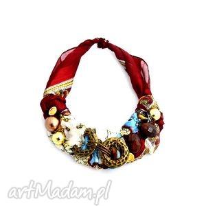 impressja naszyjnik handmade, naszyjnik, kolorowy, czerwony, złoty, bordo