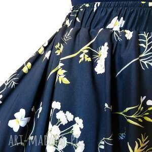 Spódnica granatowa łąka spódnice rustic city w-kwiaty, z-koła