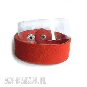bransoletka skóra i plastik czerwień owijana, plastik, transparentna