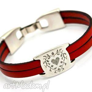 bransoletka skóra JOYEE DUALL heart red, bransoletka, skóra, serce, cyna, romantyczna