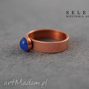 pierścionek z niebieskim agatem, wire, wrapping, agat, miedź