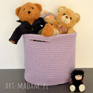 Kosz/pudełko ze sznurka bawełnianego - kolor wrzos, kosz, koszyk, naszydełku