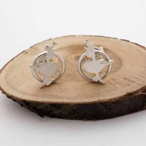 kolczyki sebrne sikorki na kwitnącej jabłoni - srebrne, wintage