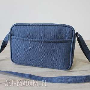 handmade na ramię mała torba miejska - tkanina granat denim
