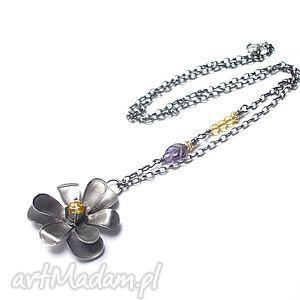 Bratek - naszyjnik, srebro, metaloplastyka, ametyst, cytryny, kwiat, cyrkonia