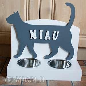 zwierzaki stojak na miski - dla kota, stojak, miski, kot, drewniany, prezent