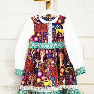 słowiańska jesień, sukienka, fioletowy, rękawy, bufki, kołnierzyk