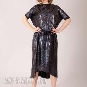 holograficzna sukienka wiązana w pasie , połyskująca, metaliczny, karnawałowa
