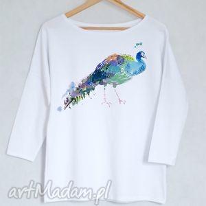 PAW bluzka bawełniana oversize S/M biała, bluzka, bluza, koszulka, nadruk, paw