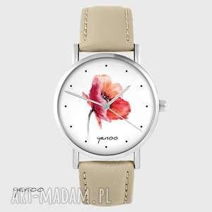 zegarek yenoo - mak skórzany, beżowy, zegarek, bransoletka, kwiat