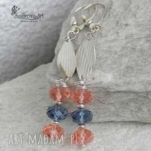 rose peach denim blue - kolczyki, swarovski, srebro, eleganckie, lekkie biżuteria