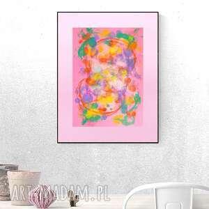 różowa abstrakcja, abstrakcja malowana ręcznie, kolorowa grafika do sypialni