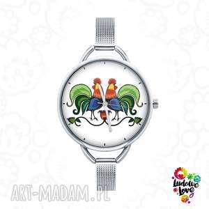 zegarek z grafiką koguty, koguciki, folk, łowickie, łowicz, etniczne, prezent