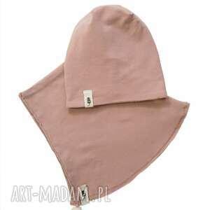 zestaw czapka komin pudrowy róż, i komin, zestaw, zimowa czapka