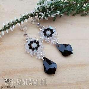 barokowe księżyce - kolczyki, srebrna biżuteria, srebrne kryształy