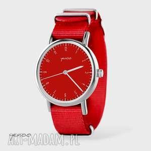 ręcznie wykonane zegarki zegarek, bransoletka - simple elegance czerwony, nato