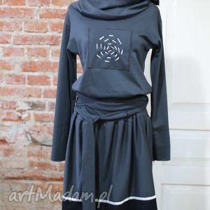 sukienki laura-sukienka, wygodna, grafitowa, sukienak, taliowana, rozkloszowana