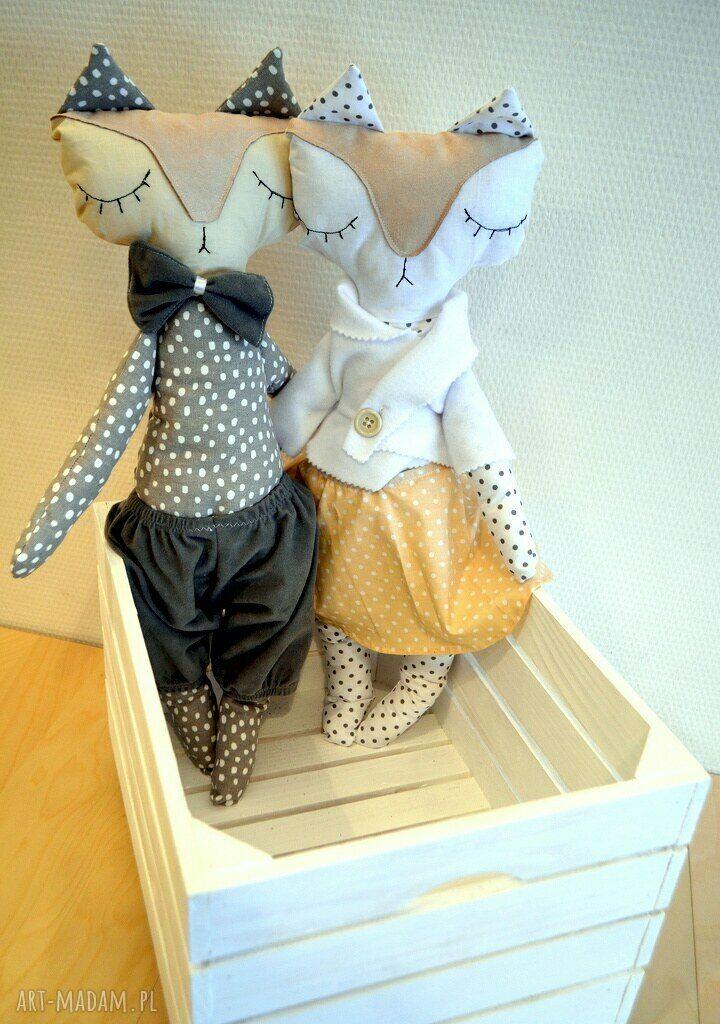 białe zabawki lalki mrs and mr lisek - mia&lou
