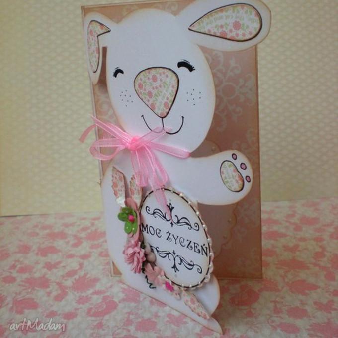 różowe kartki wielkanoc kartka-zajączek