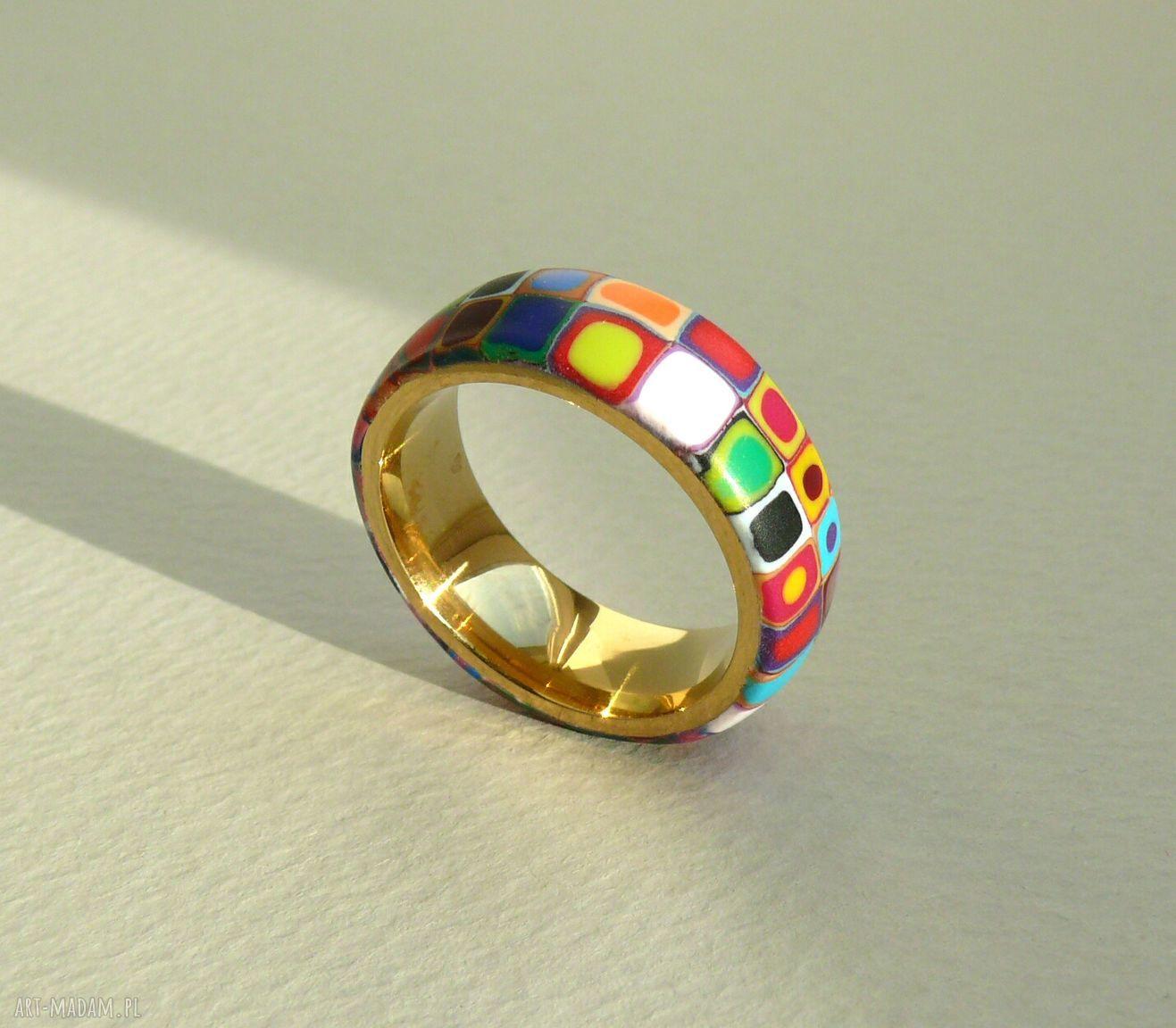 ręcznie zrobione obrączki kolorowa obrączka, stal z polymer