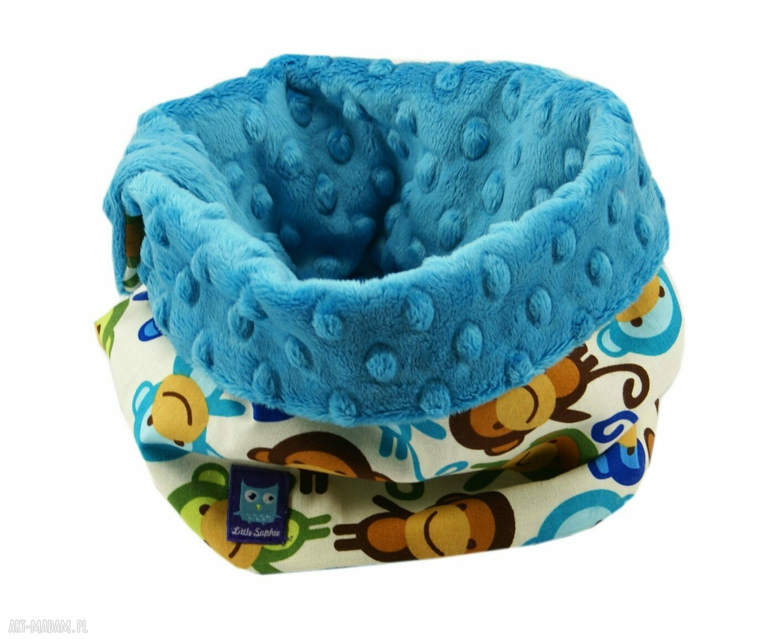 poduszka zabawki turkusowe komplet na prezent, wzór małpki
