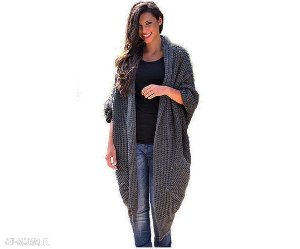 trendy płaszcze sweter długi ciepły sweter-płaszcz