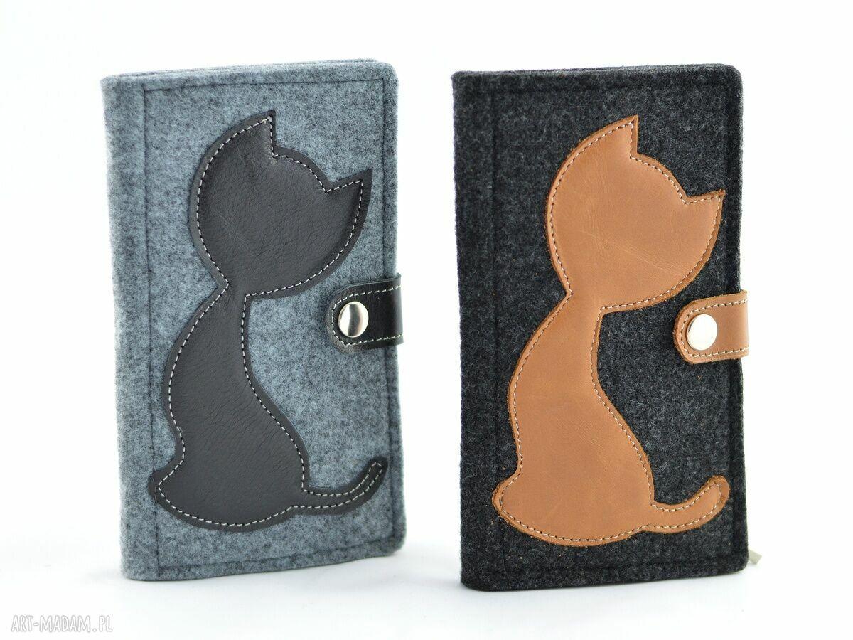 eleganckie portfele filc portfel filcowy ze skórzanym kotem
