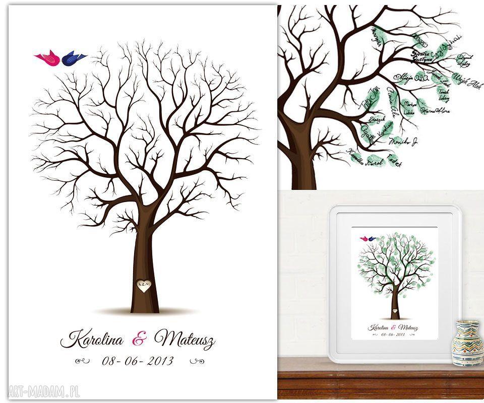 ręczne wykonanie księgi gości drzewo wpisów gości weselnych b2 - 50x70 cm