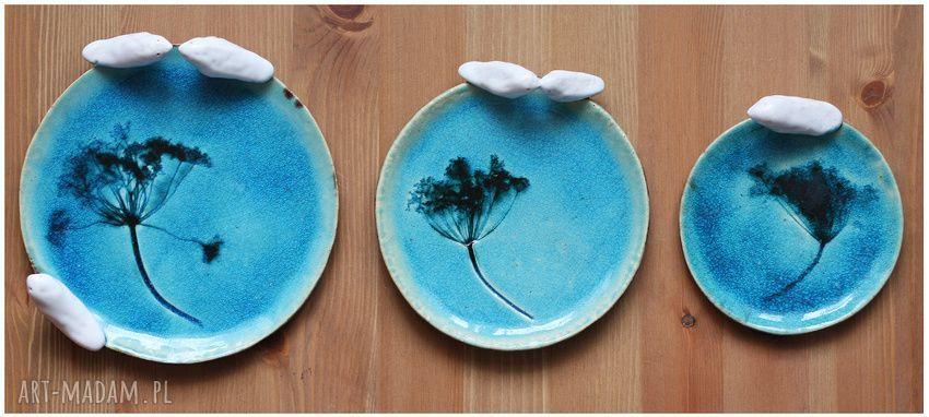 ceramika komplet turkusowych talerzyków