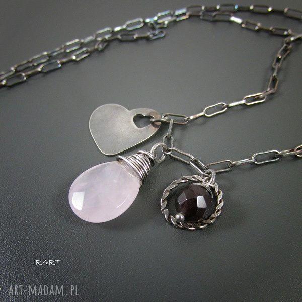 ręcznie zrobione naszyjniki serce z różowym kwarcem