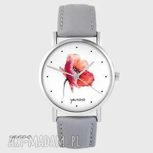 zegarek yenoo - mak szary, skórzany, zegarek, pasek, kwiat
