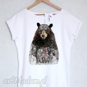 MIŚ koszulka bawełniana biała L/XL, koszulka, bluzka, bawełna, nadruk, miś