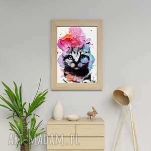 kot w kolorze plakat a3 grafika, kolorowe plamy, rysunek kota, koty rządzą