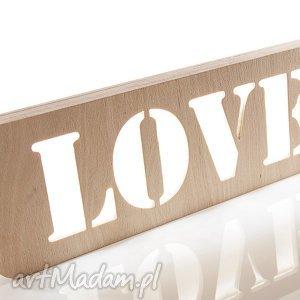 lampka drewniana napis love, lampka, lampa, drewno, sklejka, naturalna