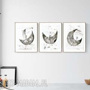 obrazy zestaw 3 grafik a4 wykonanych ręcznie, abstrakcja, elegancki minimalizm
