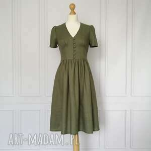 sukienki rosalia sukienka lniana, khaki, sukienka, marszczona, midi